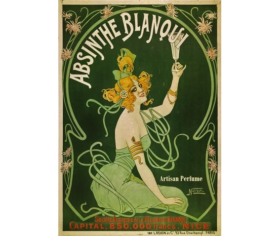 Плакат-реклама Абсента с зеленой феей. 1896 год