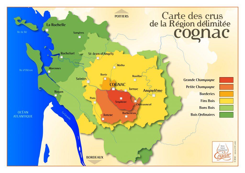 Шесть регионов (кру) вокруг города Коньяк